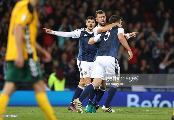 James McArthur of Scotland celebrates after he scores during the FIFA 2018 World Cup Qualifier between Scotland and Lithuania at Hampden Park on...
