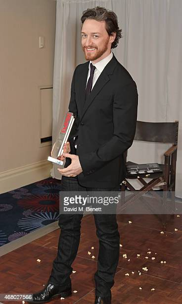 James McAvoy accepting on behalf of Best SciFi/Fantasy winner XMen Days Of Future Past poses in the Winners Room at the Jameson Empire Awards 2015 at...