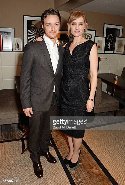 James McAvoy and AnneMarie Duff attend a drink reception following the UK Premiere of 'The Disappearance Of Eleanor Rigby' during the 58th BFI London...