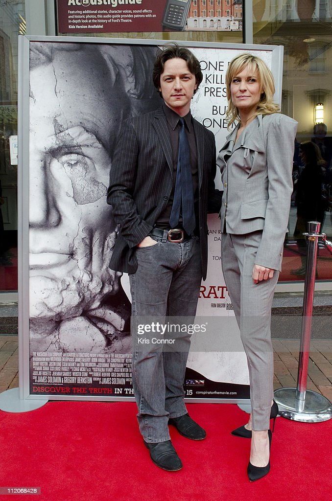 <a gi-track='captionPersonalityLinkClicked' href=/galleries/search?phrase=James+McAvoy&family=editorial&specificpeople=647005 ng-click='$event.stopPropagation()'>James McAvoy</a> and <a gi-track='captionPersonalityLinkClicked' href=/galleries/search?phrase=Robin+Wright&family=editorial&specificpeople=207147 ng-click='$event.stopPropagation()'>Robin Wright</a> pose for photographers on the red carpet during the premiere of 'The Conspirator' presented by The American Film Company, Ford's Theatre and Roadside Attractions at Ford's Theatre on April 10, 2011 in Washington, DC.