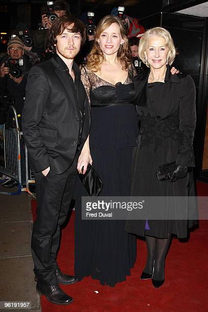 James McAvoy AnneMarie Duff and Dame Helen Mirren attends the UK Prmeiere of 'The Last Station' at The Curzon Mayfair on January 26 2010 in London...