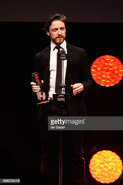 James McAvoy collects the Best Scifi/Fantasy award for XMen Days Of Future Past on stage during the Jameson Empire Awards 2015 at the Grosvenor House...