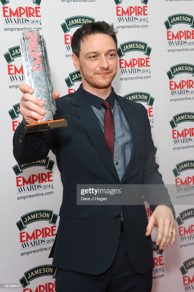 James Mcavoy poses in the press room at the Jameson Empire Film Awards 2014 at The Grosvenor House Hotel on March 30, 2014 in London, England.