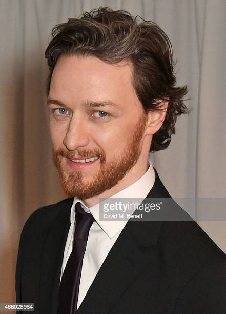 James McAvoy poses in the Winners Room at the Jameson Empire Awards 2015 at Grosvenor House on March 29 2015 in London England