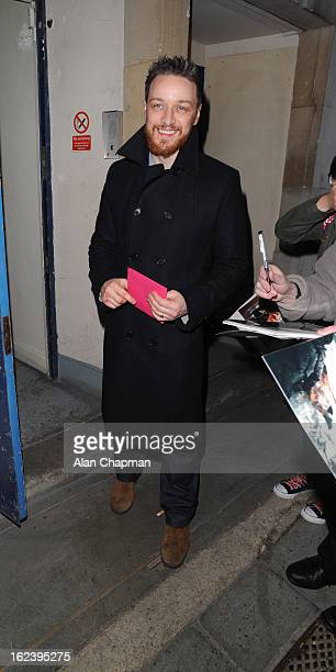 James McAvoy sighting at Macbeth press night Trafalgar Studios on February 22 2013 in London England