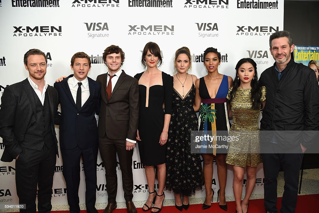 <a gi-track='captionPersonalityLinkClicked' href=/galleries/search?phrase=James+McAvoy&family=editorial&specificpeople=647005 ng-click='$event.stopPropagation()'>James McAvoy</a>, <a gi-track='captionPersonalityLinkClicked' href=/galleries/search?phrase=Tye+Sheridan&family=editorial&specificpeople=7807719 ng-click='$event.stopPropagation()'>Tye Sheridan</a>, <a gi-track='captionPersonalityLinkClicked' href=/galleries/search?phrase=Evan+Peters&family=editorial&specificpeople=2301160 ng-click='$event.stopPropagation()'>Evan Peters</a>, Carolina Bartczak, <a gi-track='captionPersonalityLinkClicked' href=/galleries/search?phrase=Rose+Byrne&family=editorial&specificpeople=206670 ng-click='$event.stopPropagation()'>Rose Byrne</a>, <a gi-track='captionPersonalityLinkClicked' href=/galleries/search?phrase=Alexandra+Shipp&family=editorial&specificpeople=10012876 ng-click='$event.stopPropagation()'>Alexandra Shipp</a>, <a gi-track='captionPersonalityLinkClicked' href=/galleries/search?phrase=Lana+Condor&family=editorial&specificpeople=14229196 ng-click='$event.stopPropagation()'>Lana Condor</a>, and <a gi-track='captionPersonalityLinkClicked' href=/galleries/search?phrase=Simon+Kinberg&family=editorial&specificpeople=2347671 ng-click='$event.stopPropagation()'>Simon Kinberg</a> attend the 'X-Men Apocalypse' New York screening at Entertainment Weekly on May 24, 2016 in New York City.