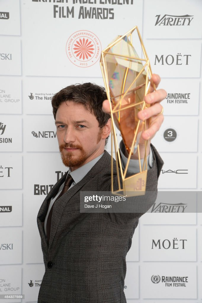 <a gi-track='captionPersonalityLinkClicked' href=/galleries/search?phrase=James+McAvoy&family=editorial&specificpeople=647005 ng-click='$event.stopPropagation()'>James McAvoy</a> winner of the Best Actor Award attends the Moet British Independent Film Awards 2013 at Old Billingsgate Market on December 8, 2013 in London, England.