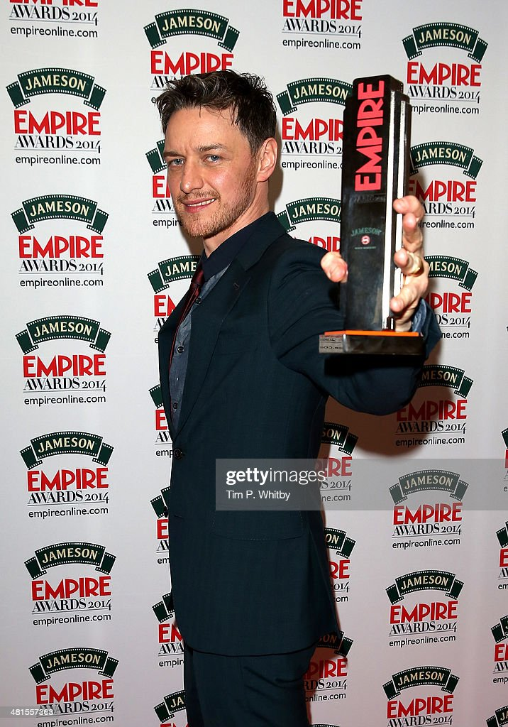 <a gi-track='captionPersonalityLinkClicked' href=/galleries/search?phrase=James+McAvoy&family=editorial&specificpeople=647005 ng-click='$event.stopPropagation()'>James McAvoy</a>, winner of the Jameson Best Actor award during the Jameson Empire Awards 2014 at the Grosvenor House Hotel on March 30, 2014 in London, England. Regarded as a relaxed end to the awards show season, the Jameson Empire Awards celebrate the film industry's success stories of the year with winners being voted for entirely by members of the public. Visit empireonline.com/awards2014 for more information.