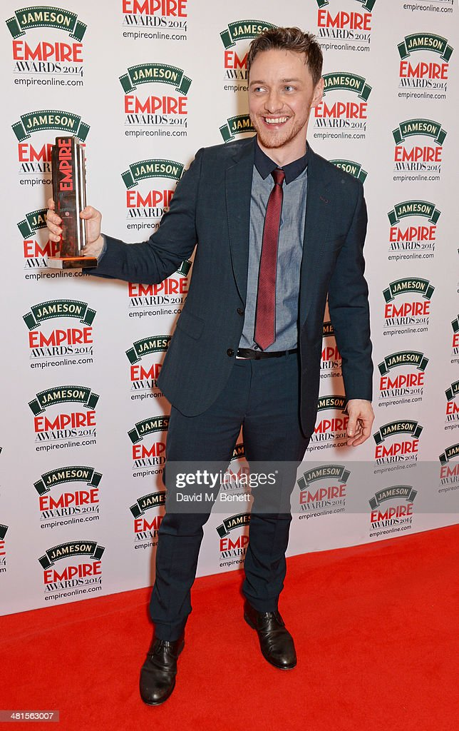 <a gi-track='captionPersonalityLinkClicked' href=/galleries/search?phrase=James+McAvoy&family=editorial&specificpeople=647005 ng-click='$event.stopPropagation()'>James McAvoy</a>, winner of the Jameson Best Actor Award, poses in the press room at the Jameson Empire Awards 2014 at The Grosvenor House Hotel on March 30, 2014 in London, England.