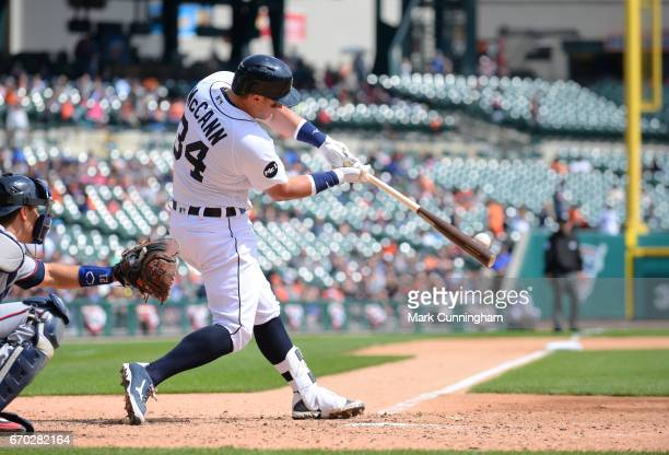 James McCann of the Detroit Tigers bats during the game against the Minnesota Twins at Comerica Park on April 11 2017 in Detroit Michigan The Tigers...