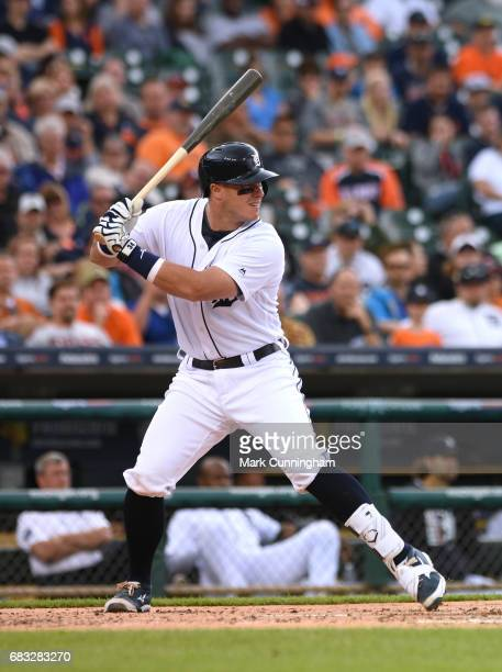 James McCann of the Detroit Tigers bats during the game against the Seattle Mariners at Comerica Park on April 27 2017 in Detroit Michigan The...