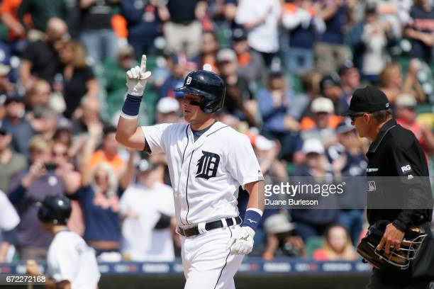 James McCann of the Detroit Tigers celebrate a home run against the Minnesota Twins at Comerica Park on April 11 2017 in Detroit Michigan