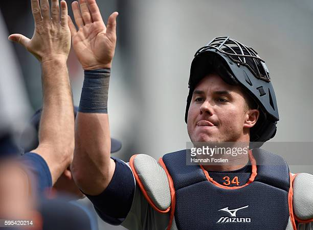 James McCann of the Detroit Tigers celebrates winning the game against the Minnesota Twins on August 25 2016 at Target Field in Minneapolis Minnesota...