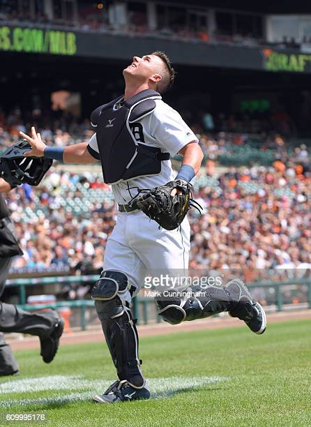 James McCann of the Detroit Tigers fields a popup during the game against the Los Angeles Angels of Anaheim at Comerica Park on August 28 2016 in...