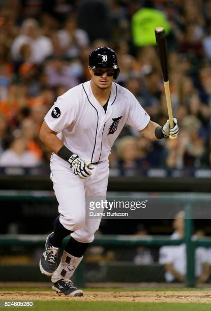 James McCann of the Detroit Tigers flies out against the Houston Astros at Comerica Park on July 28 2017 in Detroit Michigan