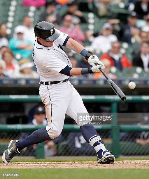 James McCann of the Detroit Tigers hits a solo walkoff home run to defeat the Houston Astros 65 in the 11th inning at Comerica Park on May 21 2015 in...