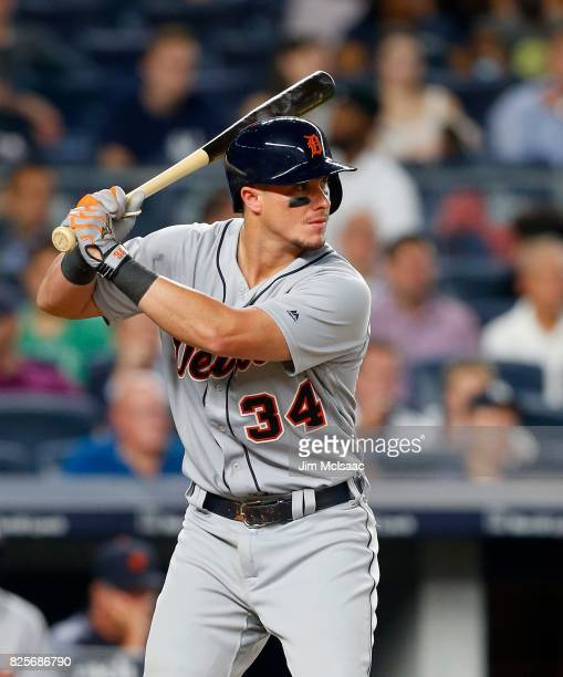 James McCann of the Detroit Tigers in action against the New York Yankees at Yankee Stadium on August 1 2017 in the Bronx borough of New York City...
