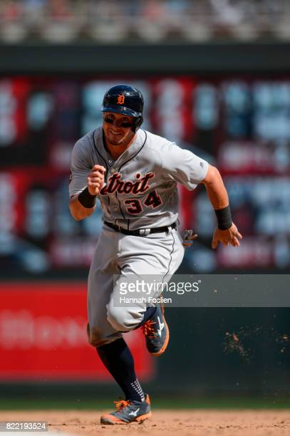 James McCann of the Detroit Tigers runs the bases against the Minnesota Twins during the game on July 23 2017 at Target Field in Minneapolis...