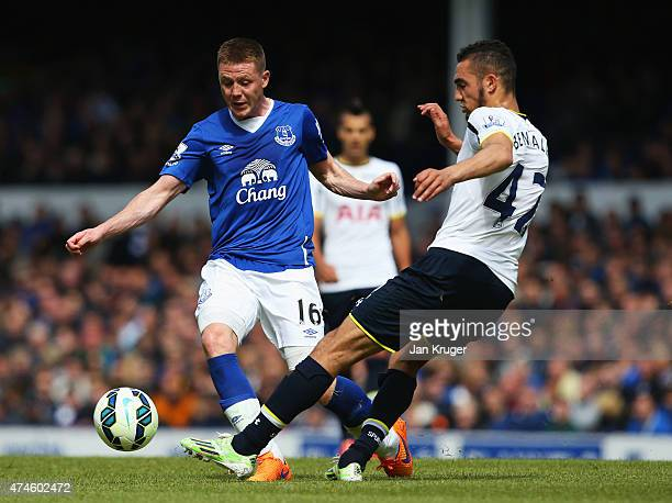 James McCarthy of Everton and Nabil Bentaleb of Spurs compete for the ball during the Barclays Premier League match between Everton and Tottenham...