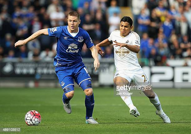 James McCarthy of Everton and sw29 compete for the ball during the Barclays Premier League match between Swansea City and Everton at the Liberty...