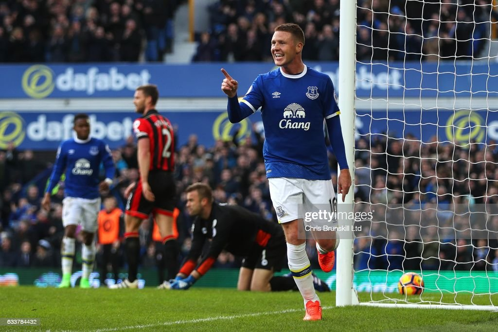 James McCarthy of Everton celebrates scoring his side's second goal during the Premier League match between Everton and AFC Bournemouth at Goodison Park on February 4, 2017 in Liverpool, England.