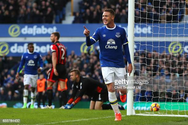 James McCarthy of Everton celebrates scoring his side's second goal during the Premier League match between Everton and AFC Bournemouth at Goodison...