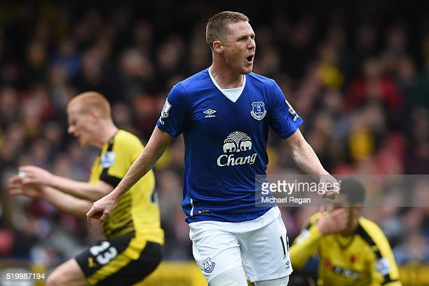 James McCarthy of Everton celebrates scoring his team's first goal during the Barclays Premier League match between Watford and Everton at Vicarage...