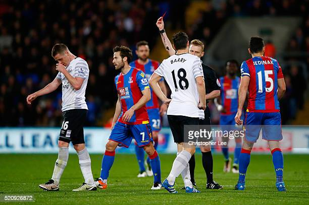 James McCarthy of Everton is shown a red card during the Barclays Premier League match between Crystal Palace and Everton at Selhurst Park on April...