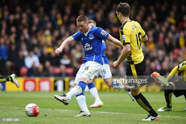 James McCarthy of Everton scores his team's first goal during the Barclays Premier League match between Watford and Everton at Vicarage Road on April...