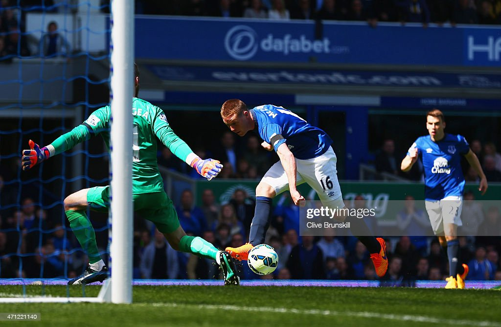 <a gi-track='captionPersonalityLinkClicked' href=/galleries/search?phrase=James+McCarthy+-+Soccer+Player&family=editorial&specificpeople=8984734 ng-click='$event.stopPropagation()'>James McCarthy</a> of Everton (16) shoots past goalkeeper David De Gea of Manchester United to score their first goal during the Barclays Premier League match between Everton and Manchester United at Goodison Park on April 26, 2015 in Liverpool, England.