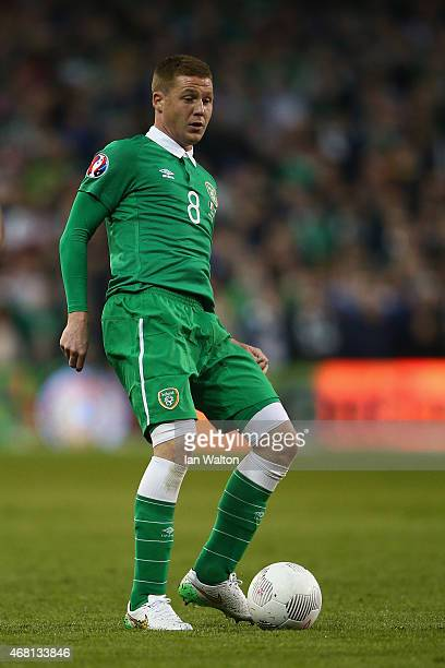 James McCarthy of Republic of Ireland on the ball during the Euro 2016 qualifying football match between Republic of Ireland and Polandat Aviva...