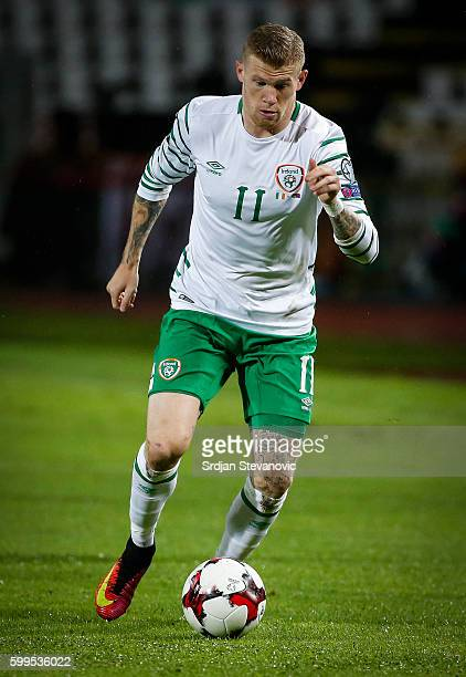 James McClean of Ireland in action during the FIFA 2018 World Cup Qualifier between Serbia and Ireland at stadium Rajko Mitic on September 5 2016 in...