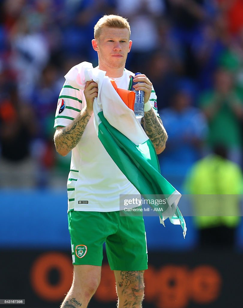 <a gi-track='captionPersonalityLinkClicked' href=/galleries/search?phrase=James+McClean&family=editorial&specificpeople=3699424 ng-click='$event.stopPropagation()'>James McClean</a> of Republic of Ireland after the UEFA EURO 2016 Round of 16 match between France and Republic of Ireland at Stade des Lumieres on June 26, 2016 in Lyon, France.