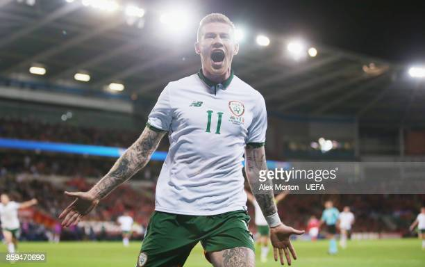 James McClean of Republic of Ireland celebrates after scoring their first goal during the FIFA 2018 World Cup Qualifier between Wales and Republic of...