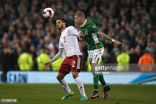 James McClean of Republic of Ireland puts pressure on Otar Kakabadze of Georgia during the FIFA 2018 World Cup Group D Qualifier between Republic of...