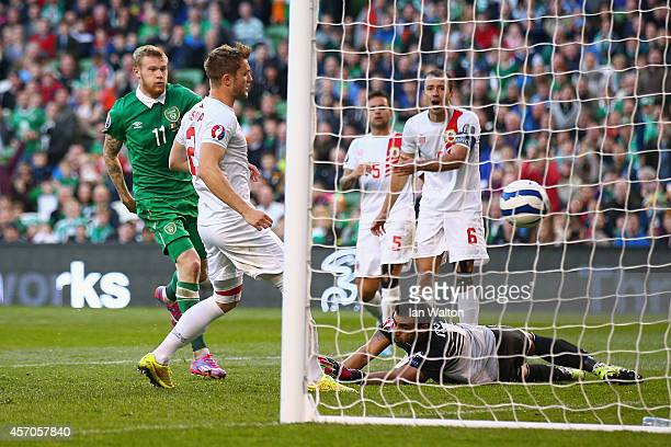 James McClean of Republic of Ireland scores a goal during the EURO 2016 Qualifier match between Republic of Ireland and Gibraltar at Aviva Stadium on...