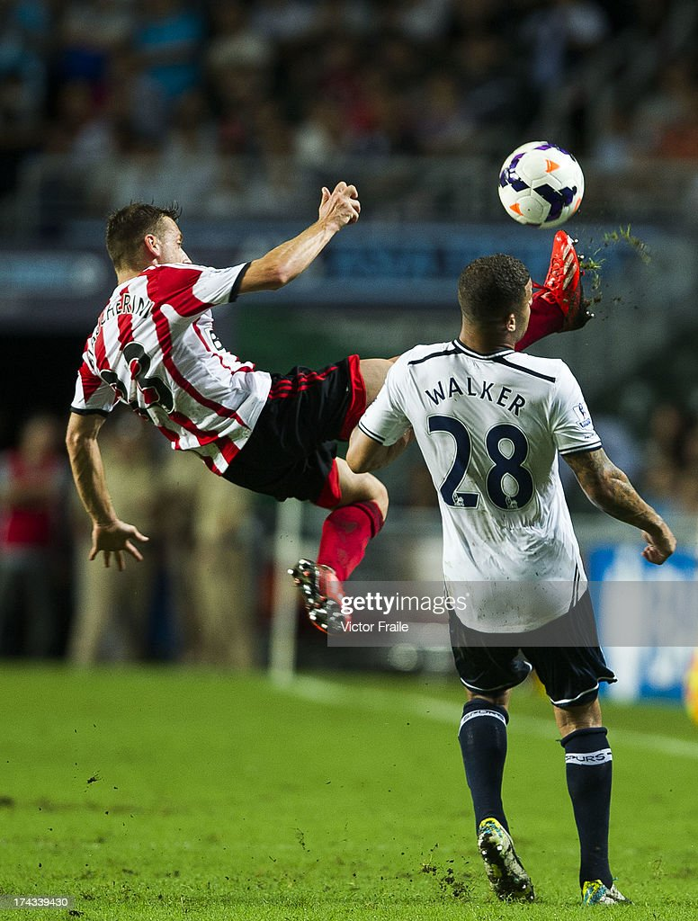 <a gi-track='captionPersonalityLinkClicked' href=/galleries/search?phrase=James+McClean&family=editorial&specificpeople=3699424 ng-click='$event.stopPropagation()'>James McClean</a> of Sunderland (L) clashes with <a gi-track='captionPersonalityLinkClicked' href=/galleries/search?phrase=Kyle+Walker&family=editorial&specificpeople=5609702 ng-click='$event.stopPropagation()'>Kyle Walker</a> of Tottenham Hotspur during the Barclays Asia Trophy Semi Final match between Tottenham Hotspur and Sunderland at Hong Kong Stadium on July 24, 2013 in So Kon Po, Hong Kong.
