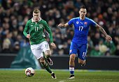 James McClean of the Republic of Ireland and Marek Hamsik of Slovakia during the international friendly match between the Republic of Ireland and...