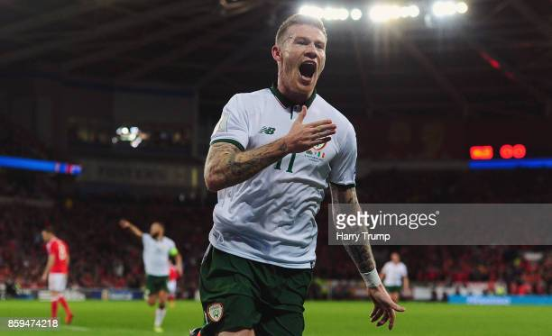 James McClean of the Republic of Ireland celebrates as he scores their first goal during the FIFA 2018 World Cup Group D Qualifier between Wales and...