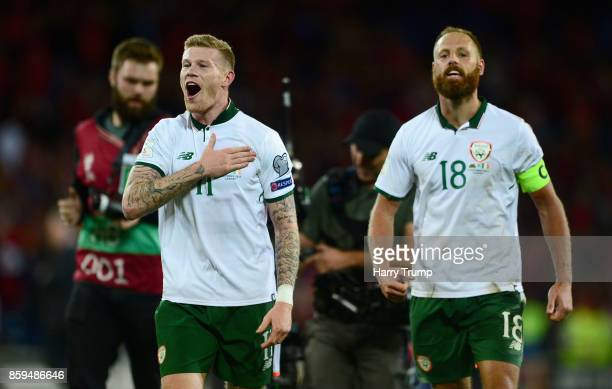 James McClean of the Republic of Ireland celebrates victory with David Meyler after the FIFA 2018 World Cup Group D Qualifier between Wales and...