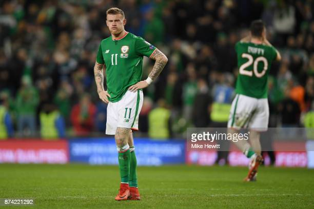 James McClean of the Republic of Ireland is dejected after the FIFA 2018 World Cup Qualifier PlayOff Second Leg between Republic of Ireland and...