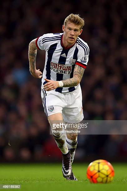 James McClean of West Brom in action during the Barclays Premier League match between West Ham United and West Bromwich Albion at Boleyn Ground on...