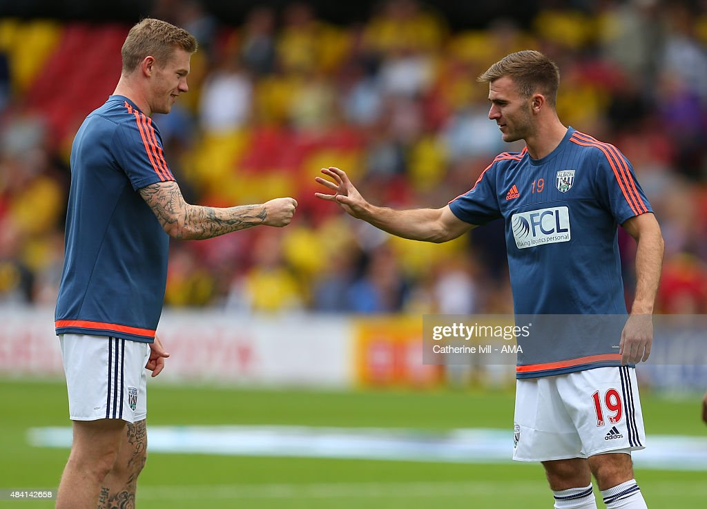 James McClean of West Bromwich Albion and Callum McManaman of West Bromwich Albion play rock, paper, scissors during the warm up before the Barclays premier League match between Watford and West Bromwich Albion at Vicarage Road on August 15, 2015 in Watford, England.