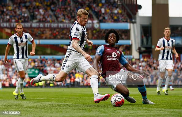 James McClean of West Bromwich Albion and Carlos Sanchez of Aston Villa compete for the ball during the Barclays Premier League match between Aston...