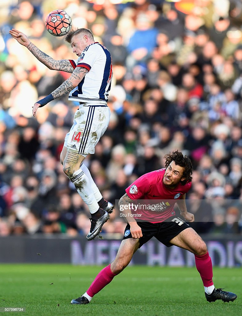 James McClean of West Bromwich Albion (l) and Lawrie Wilson of Peterborough United compete for the ball during The Emirates FA Cup Fourth Round match between West Bromwich Albion and Peterborough United at The Hawthorns on January 30, 2016 in West Bromwich, England.