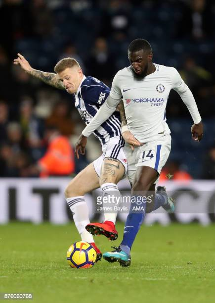 James McClean of West Bromwich Albion and Tiemoue Bakayoko of Chelsea during the Premier League match between West Bromwich Albion and Chelsea at The...