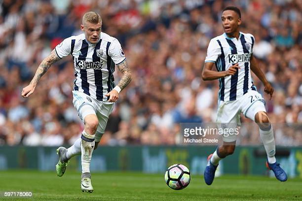 James McClean of West Bromwich Albion as Brendan Galloway makes the overlap during the Premier League match between West Bromwich Albion and...