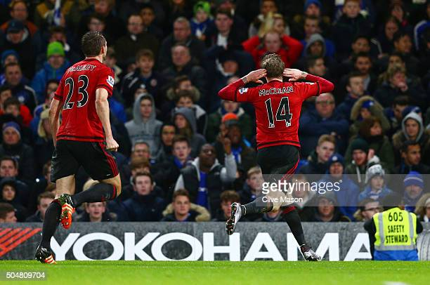 James McClean of West Bromwich Albion celebrates scoring his team's second goal during the Barclays Premier League match between Chelsea and West...