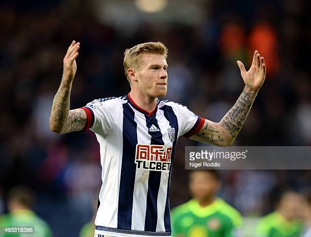 James McClean of West Bromwich Albion during the Barclays Premier League match between West Bromwich Albion and Sunderland at The Hawthorns on...