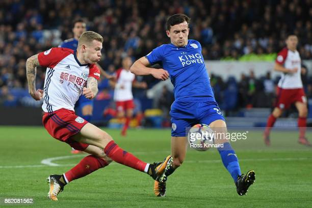 James McClean of West Bromwich Albion has a shot blocked by Ben Chilwell of Leicester City during the Premier League match between Leicester City and...